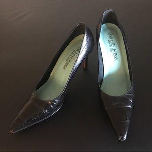 Saks Fifth Avenue black leather heels GORGEOUS